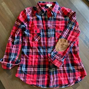 Plaid shirt with patch elbows